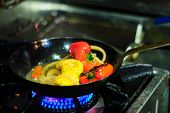 picture of stir fry  - Stir-fried vegetables on a frying pan (on stove) ** Note: Soft Focus at 100%, best at smaller sizes - JPG