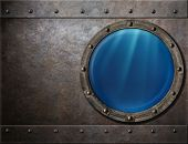 stock photo of ironclad  - submarine or battleship porthole steam punk metal background - JPG