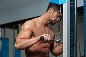 stock photo of light weight  - Young Athlete Doing Heavy Weight Exercise For Triceps - JPG