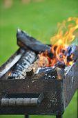 image of ember  - Burning down fire outside - JPG