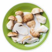 stock photo of boletus edulis  - Boletus edulis aka penny bun or porcino mushroom in a dish isolated over white  - JPG