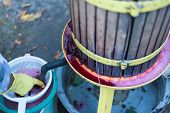 stock photo of wine-press  - Close up of traditional wine making in Romania