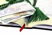 image of quran  - Open Quran with Egyptian currency before light background - JPG