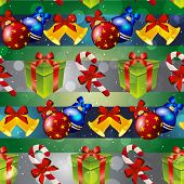 pic of candy cane border  - New year pattern with tree toys gift striped candy and Christmas bell - JPG