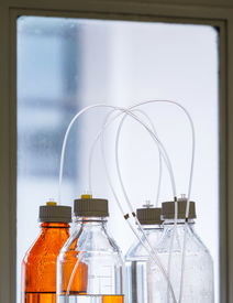 image of hplc  - Close up clear and amber color bottle with plastic hose for High performance liquid chromatography  - JPG