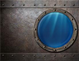 picture of battleship  - submarine or battleship porthole steam punk metal background - JPG