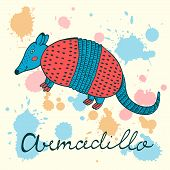 pic of armadillo  - Cute armadillo character colorful illustration in vector format - JPG