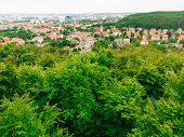 picture of suburban city  - landscape. view from tower of sea and district gdansk danzig polish city suburb buildings houses exterior.