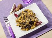 foto of chicory  - pasta with red chicory and nuts - JPG