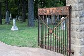 stock photo of customary  - Entrance to a cemetery with the word  - JPG
