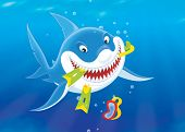 picture of flipper  - Smiling shark with a snorkel - JPG
