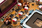 stock photo of processor socket  - Multiphase power system modern processor on the motherboard - JPG