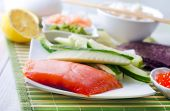 image of redfish  - ingredient for sushi on the wooden table - JPG