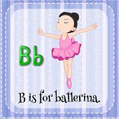 picture of letter b  - Flashcard letter B is for ballerina - JPG
