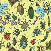 stock photo of insect  - Cute cartoon insect pattern - JPG