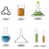 picture of beaker  - a set of test tubes flasks beakers albeit with colored liquid - JPG