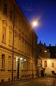 foto of cobblestone  - Zagreb Upper Town cobblestone street at dusk with bright Venus shining in the sky - JPG