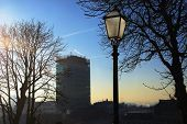 picture of early morning  - The skyscraper on the main square is a recognizable landmark seen here in early winter morning with a lantern on the Upper Town - JPG