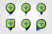 stock photo of scarecrow  - Scarecrow flat mapping pin icon with long shadow eps 10 - JPG