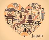 stock photo of woman dragon  - Traditional symbols of Japan in the form of a heart - JPG