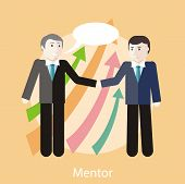 pic of mentoring  - Financial adviser or business mentor help team partner up to profit growth - JPG