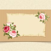 picture of english rose  - Vector vintage card with red and pink roses on a cardboard background - JPG