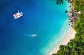 image of yachts  - Amazing view to Yacht in bay with beach  - JPG