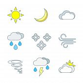 picture of windy weather  - vector colored outline weather forecast icons set white background - JPG