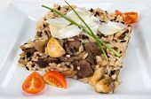 image of veal  - Veal with white and black rice and mushrooms - JPG