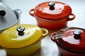 pic of pot roast  - Several little colorful cooking pots for julienne - JPG