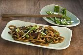 foto of scallion  - Stir fried udon noodles with bok choy oyster mushroom and scallions and green beans fried with garlic and sesame - JPG