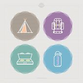 image of tipi  - 4 icons in relations to summer outdoor activity pictured here from left to right top to bottom - 