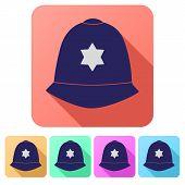 foto of bobbies  - Set Flat icons of  traditional authentic helmet of metropolitan British police officers - JPG