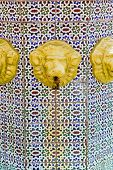 picture of lions-head  - Tile fountain with old gold rusty lion head spigots - JPG