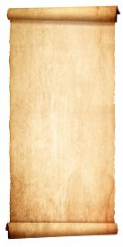 image of scroll  - Old vintage scroll isolated on white background - JPG