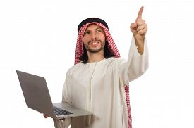 picture of arab man  - Arab man with laptop isolated on white - JPG