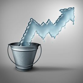 foto of water shortage  - Water demand concept and clean drinking freshwater scarcity crisis as liquid shaped as a rising chart arrow emerging from a metal bucket as a symbol of limited resources and increase in usage restrictions - JPG