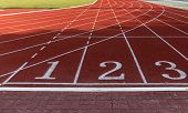 Athlete Track Or Running Track With Numbers 1 To 3 poster