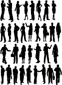 stock photo of silhouette  - Silhouettes of lots of business people in various poses - JPG
