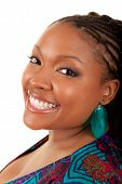 image of plus size model  - Portrait of a young beautiful black woman smiling - JPG