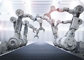 Robotic Arms With Empty Conveyor Belt poster