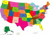 stock photo of united states map  - Detailed map of United States broken down by states - JPG