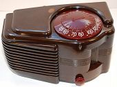 stock photo of bakelite  - American designed five tube bakelite tube radio manufactured by Sonora Radio in 1939 - JPG