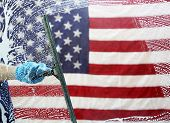 Window Cleaning. Window Washing. American flag background.   poster