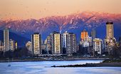 picture of jericho  - Vancouver Skyline Harbor High Rises Sailboat Birds English Bay From Jericho Beach Snow Mountains Sunset British Columbia Pacific Northwest - JPG