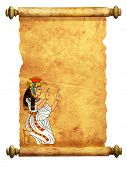 image of isis  - Scroll with Egyptian goddess Isis image - JPG
