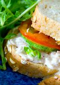 Delicious tuna with mayonnaise on crusty bread with salad on side