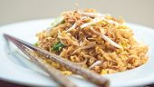 Delicious stir fried oriental noodle with vegetables