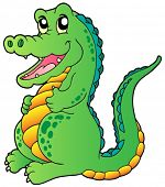 image of crocodilian  - Cartoon standing crocodile  - JPG