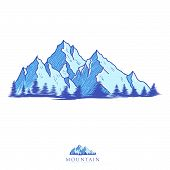 Mountain Logo, Hills Logo, Mountain Symbol, Mountain Icon, Mountain Logo Templat, Mountain Vector Ep poster